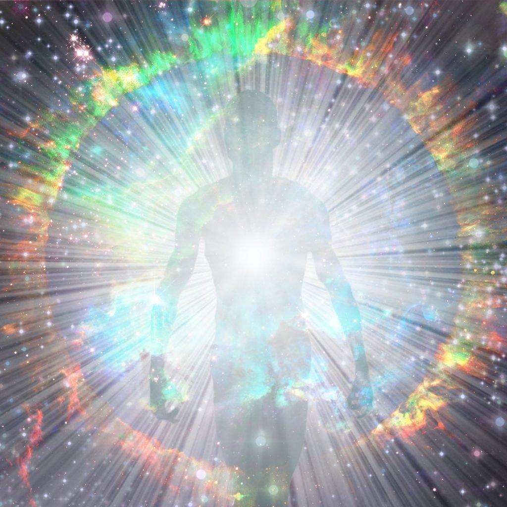 Shining aura around body and bright rays of light