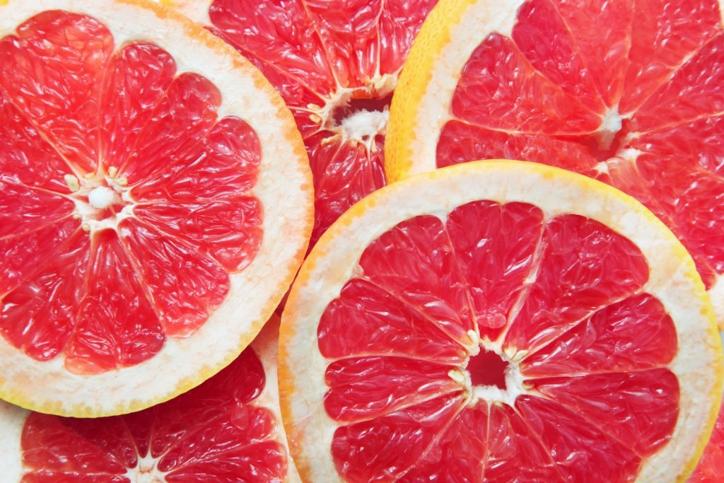 Close up of slices of pink grapefruit