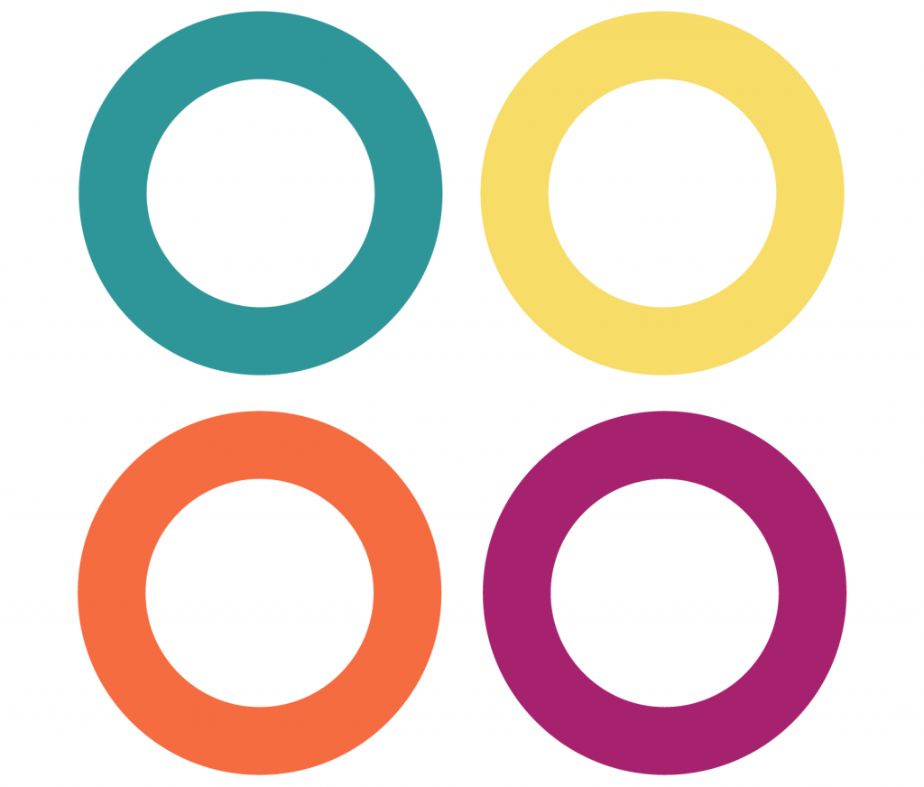 Four colored rings using a square color palette in muted tones