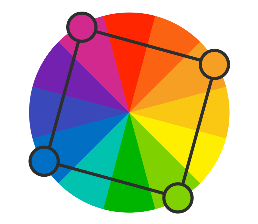 Color wheel with four dots illustrating the square color scheme