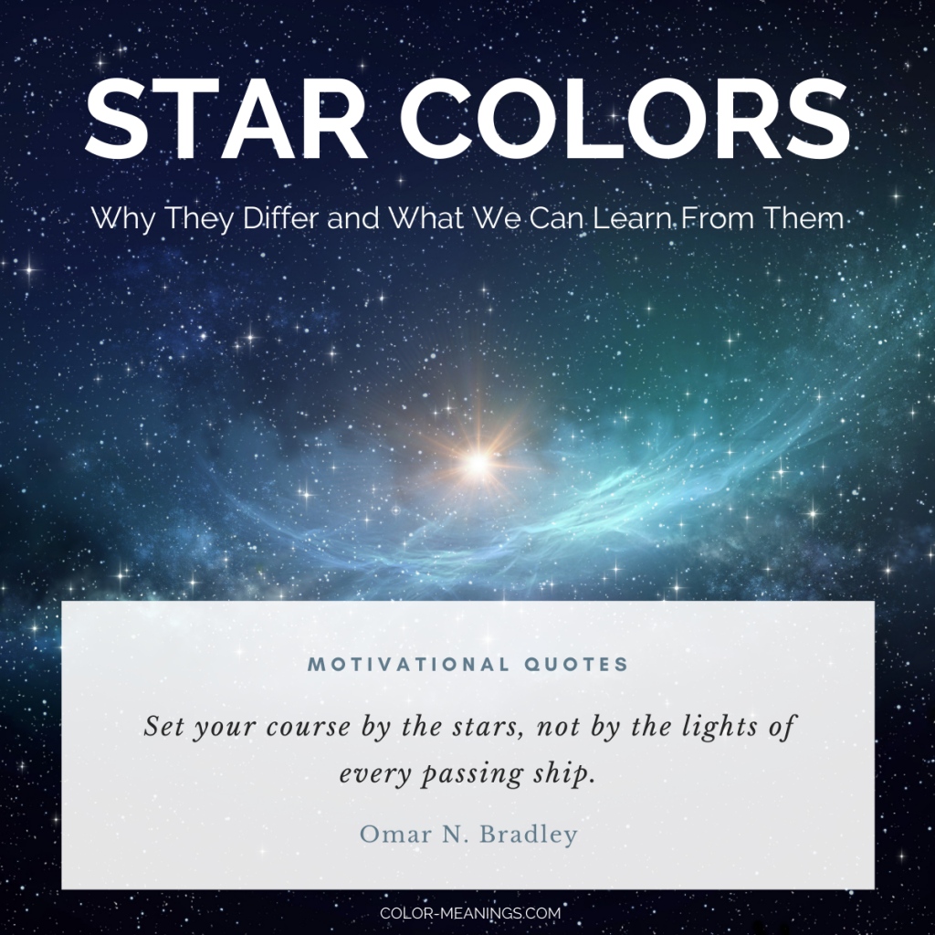 Image with text about star colors and motivational quote about stars