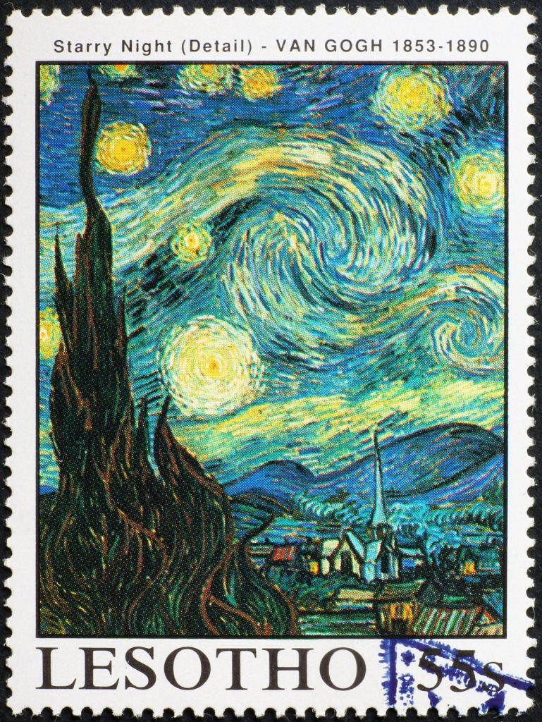 Detail from Starry Night painting by Van Gogh in low key colors on a stamp