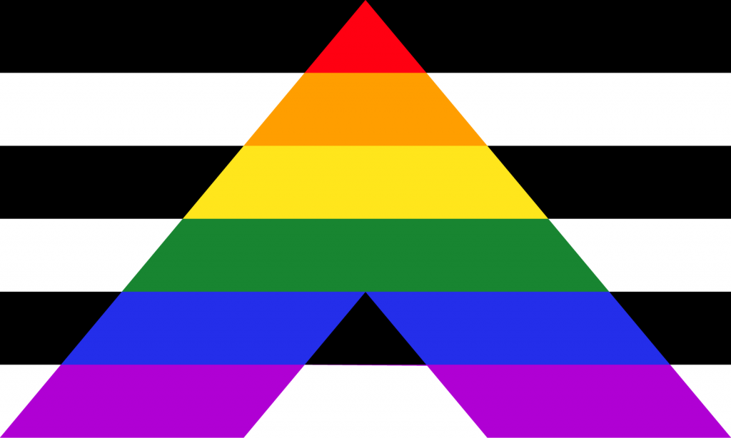 Rainbow colored straight ally pride flag with A shaped chevron
