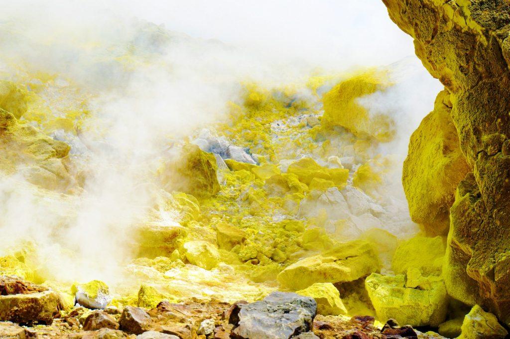Yellow sulfurous fumaroles, Vulcano, Lipari, Sicily, Italy