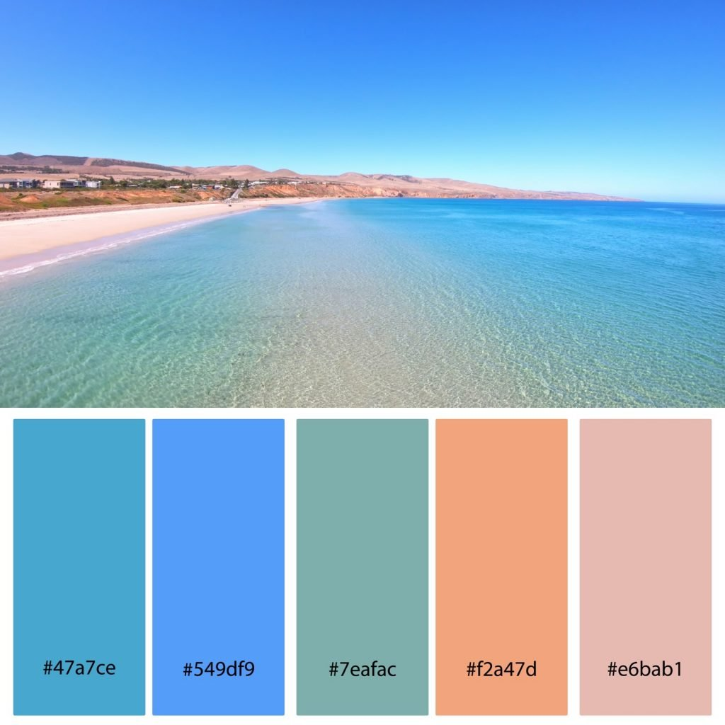 Summer beach color palette with hex codes