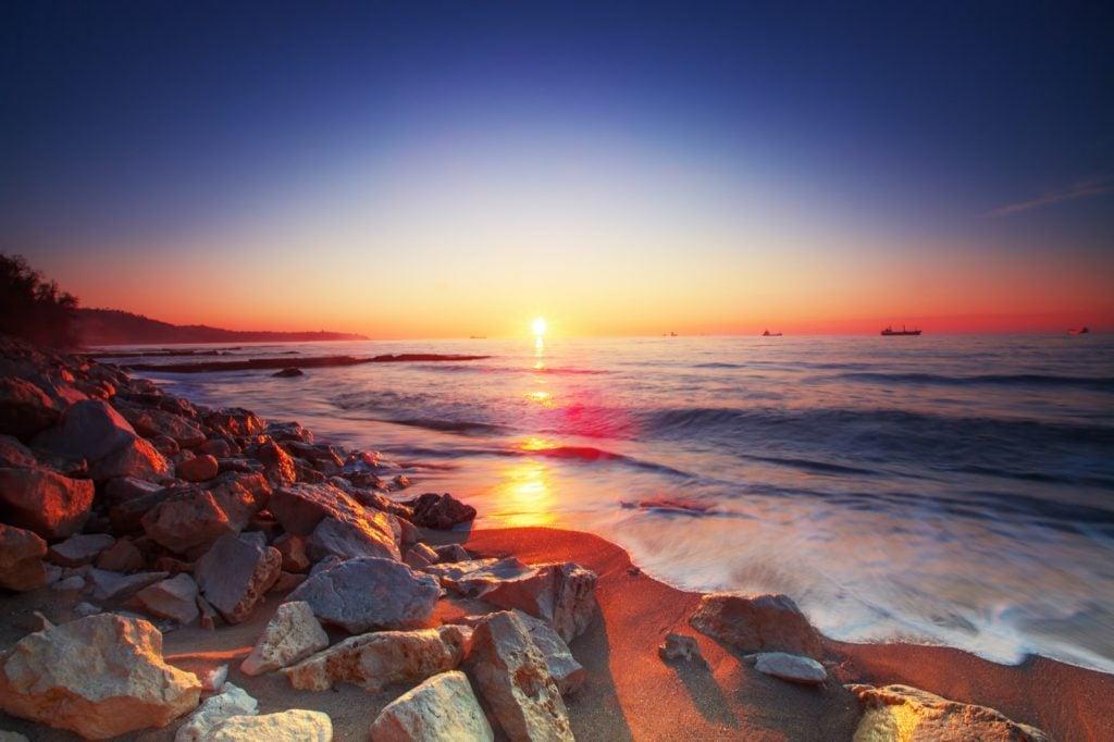 Beautiful ocean sunrise seen from the beach