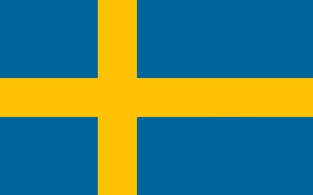 Swedish flag in yellow and blue colors
