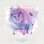Taurus zodiac sign with colorful bull
