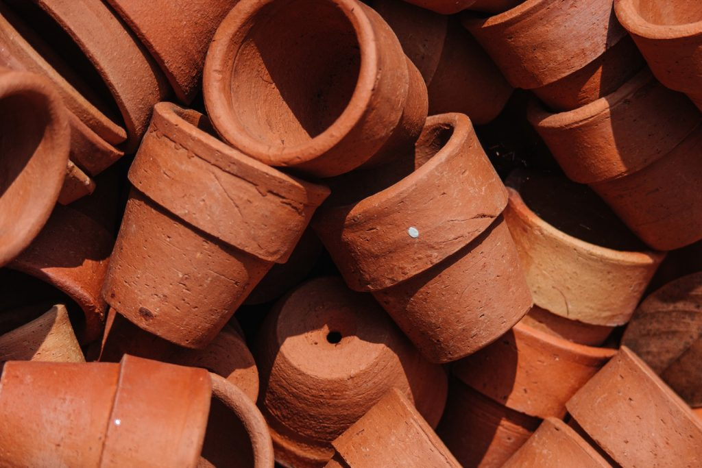 Terracotta clay pots top view photo
