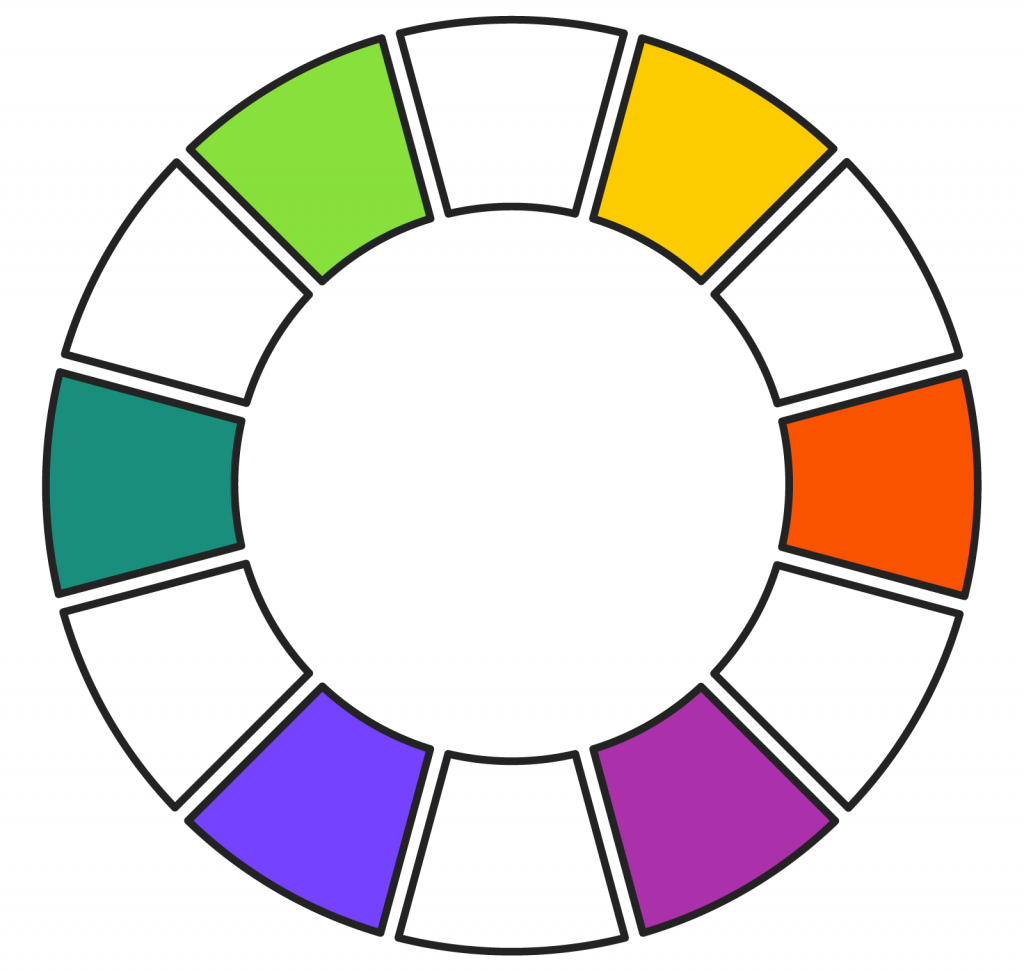 Tertiary color wheel circle consisting of six colors