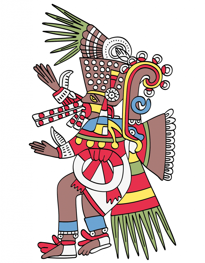 Tezcatlipoca aztec mayan god of fate, night and destiny. Illustration on white background
