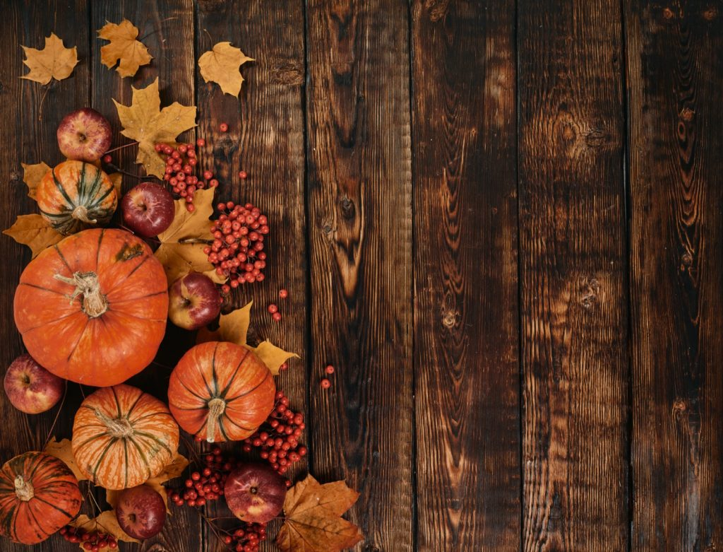 Concept of autumn harvest with pumpkins, apples, berries and leaves on dark brown wooden background