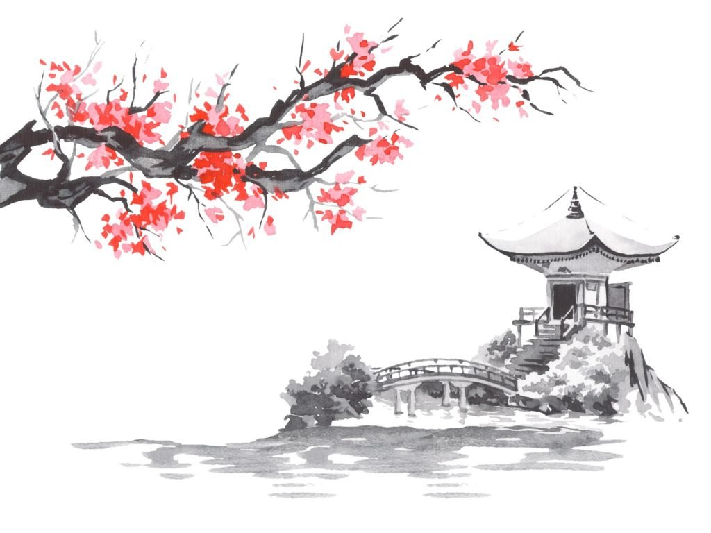 Traditional Japanese sumi-e painting using black and red ink