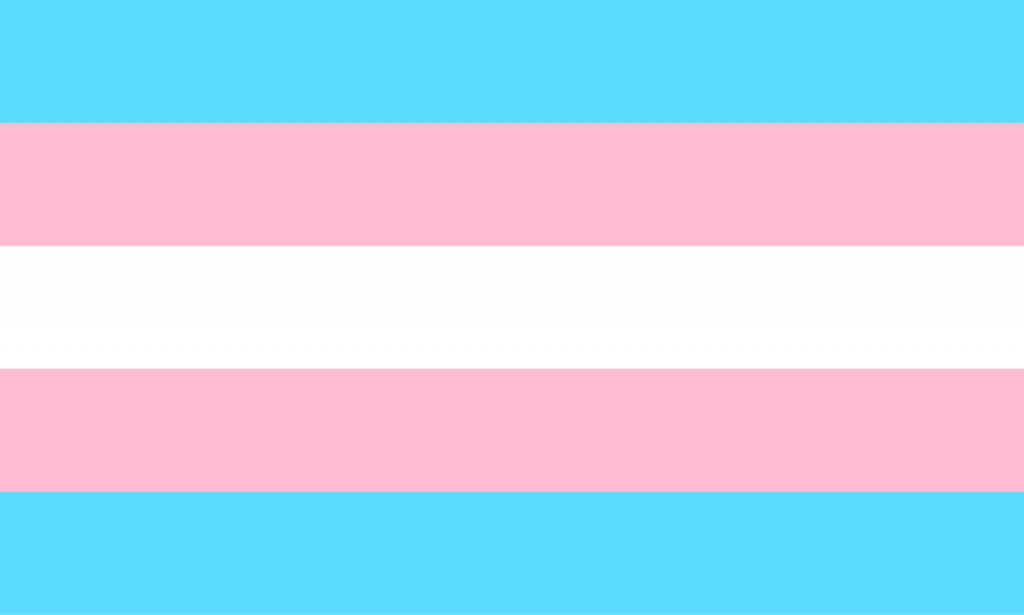 Transgender pride flag with light blue, light pink, and white colors