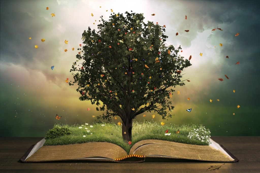 Tree with grass and butterflies in different colors flying around in a beautiful garden on an open Bible