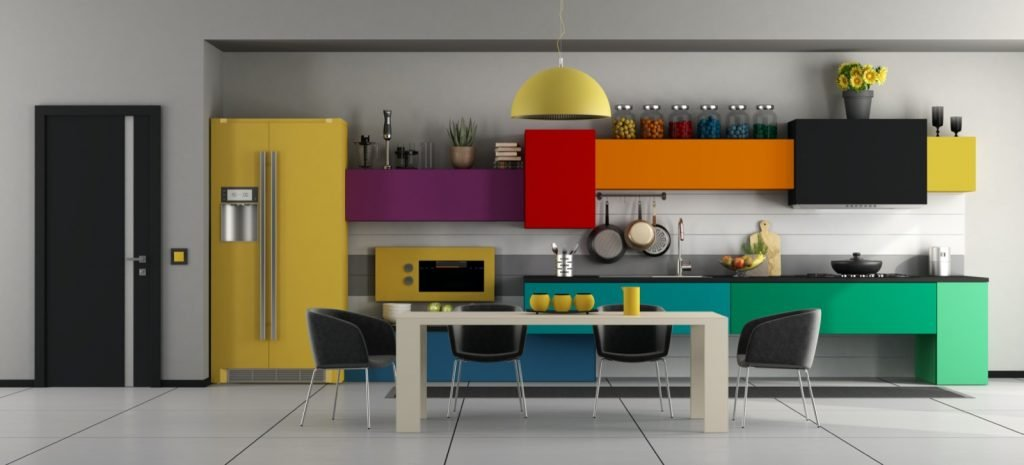 Trendy kitchen with colorful appliances