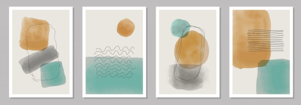 Turquoise, peach and gray hand painted drawings