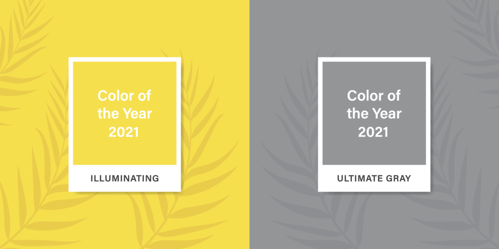 The two gray and yellow colors of the year 2021 on a tropical background with palm leaves