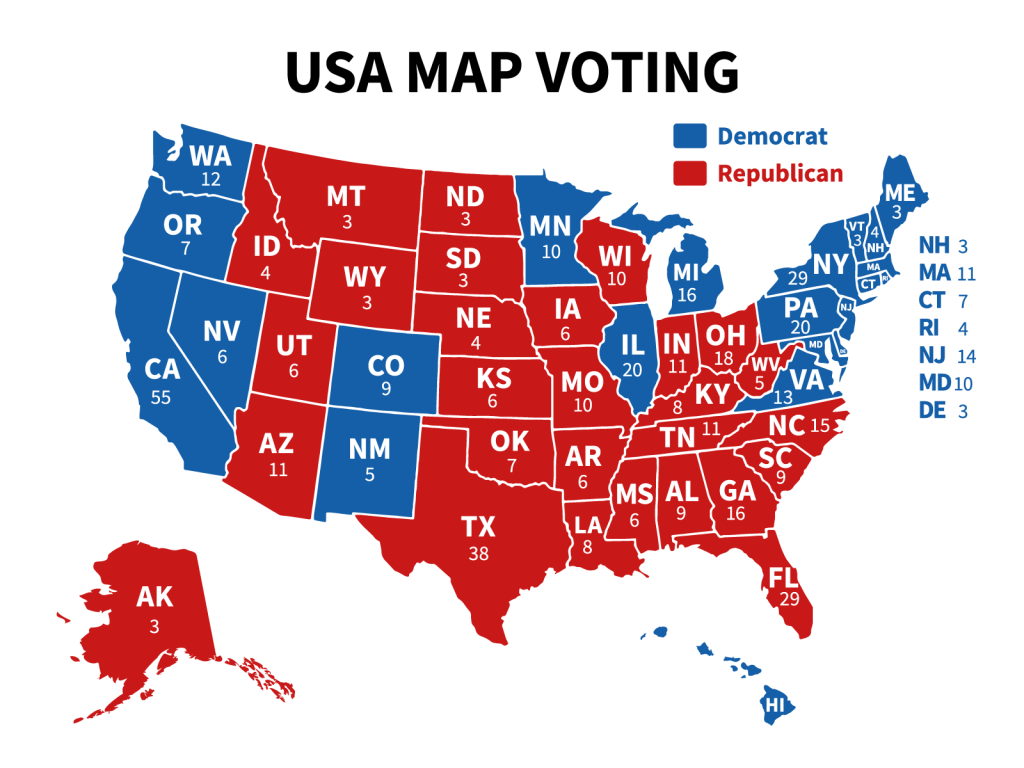 USA map voting of presidential election showing republican and democrat states
