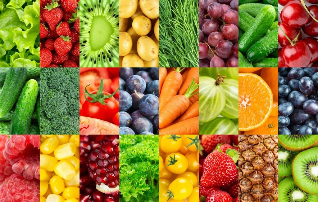 Background with various food colors of fruits and vegetables