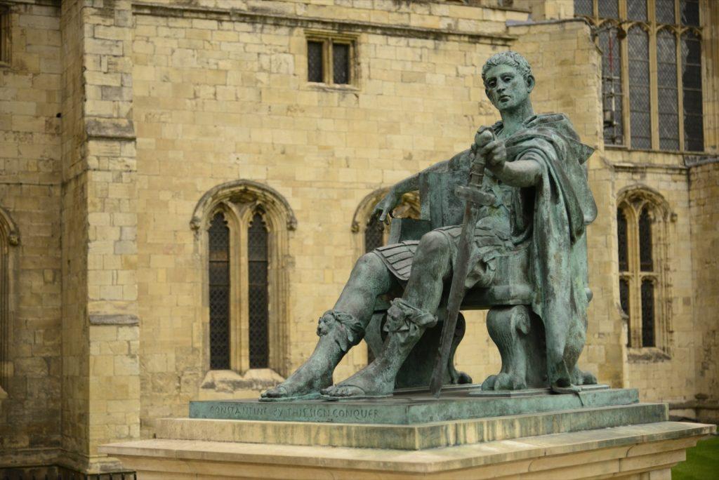 Verdigris covered green historic statue of the Roman emperor Constantine