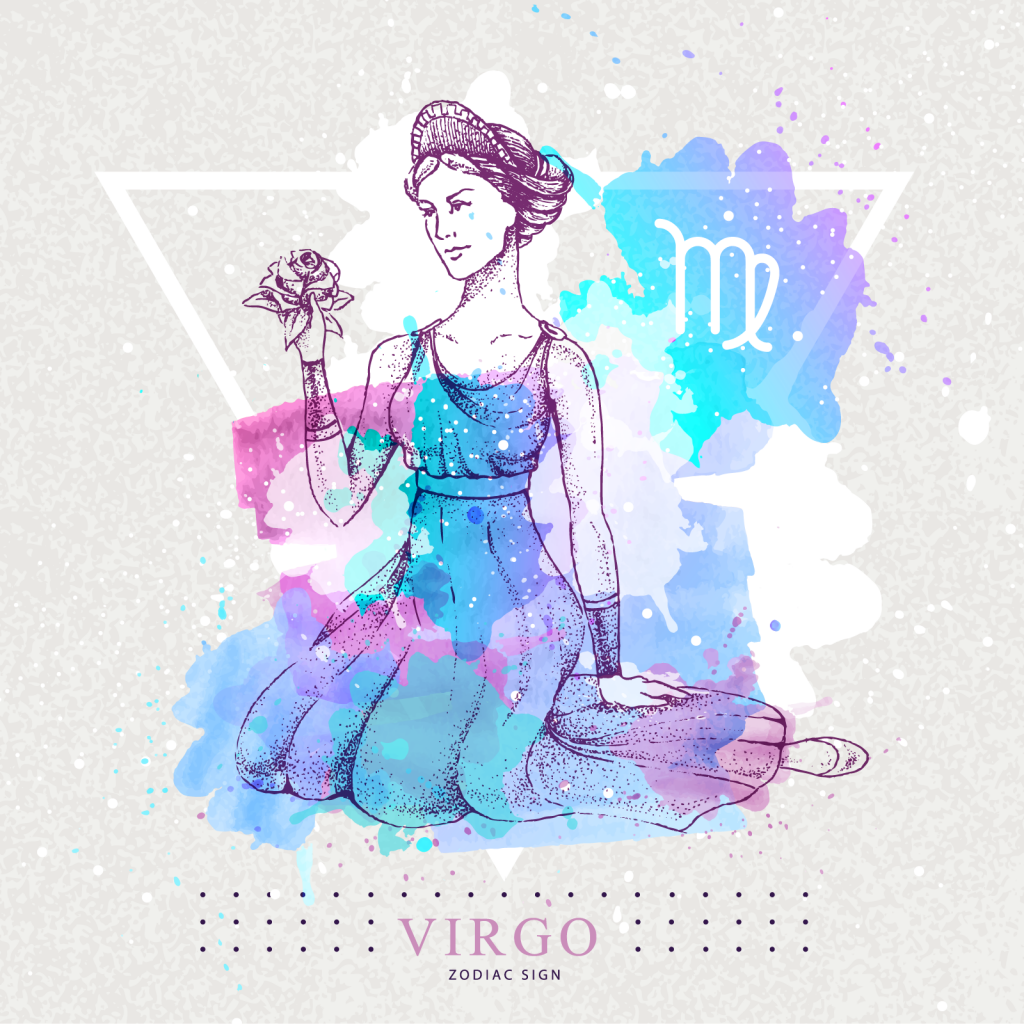 Virgo zodiac sign with colorful sitting woman