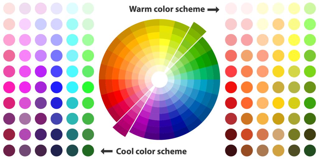 Illustration of warm and cool color palette schemes