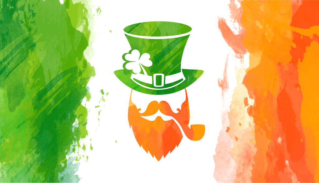 Watercolor flag of Ireland for Saint Patricks Day in green, white and orange colors