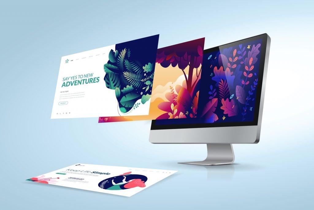 Illustration of web design using analogous color schemes