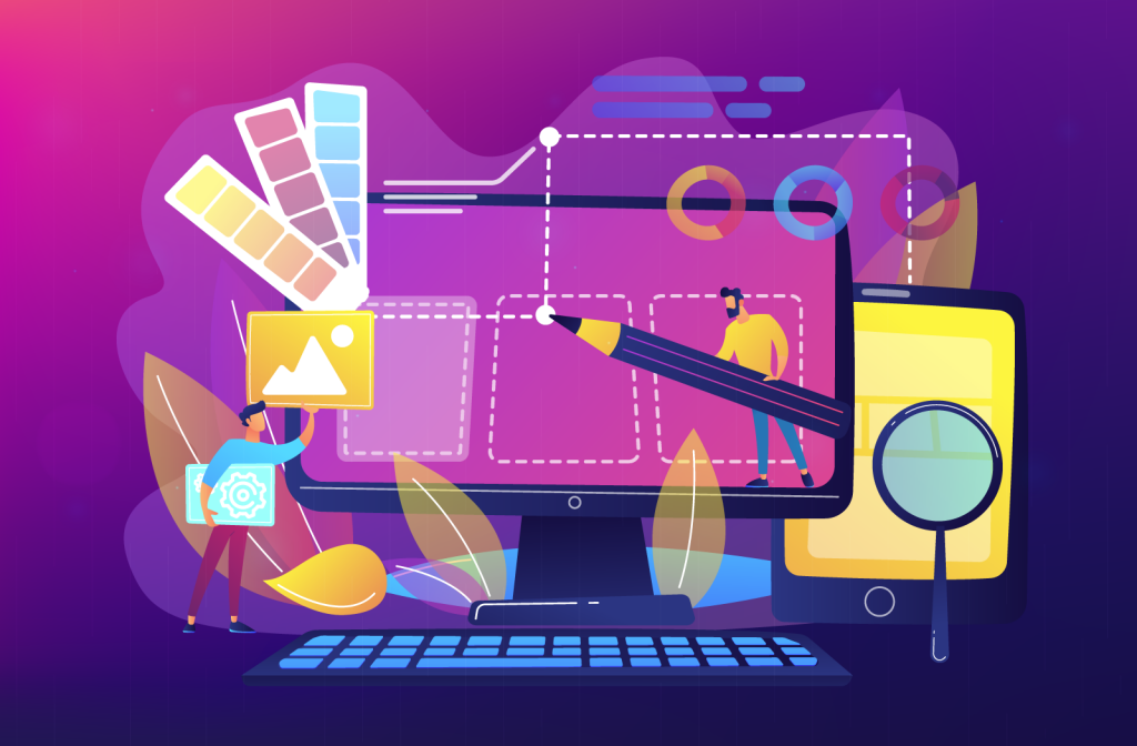 Web design development concept with color selection