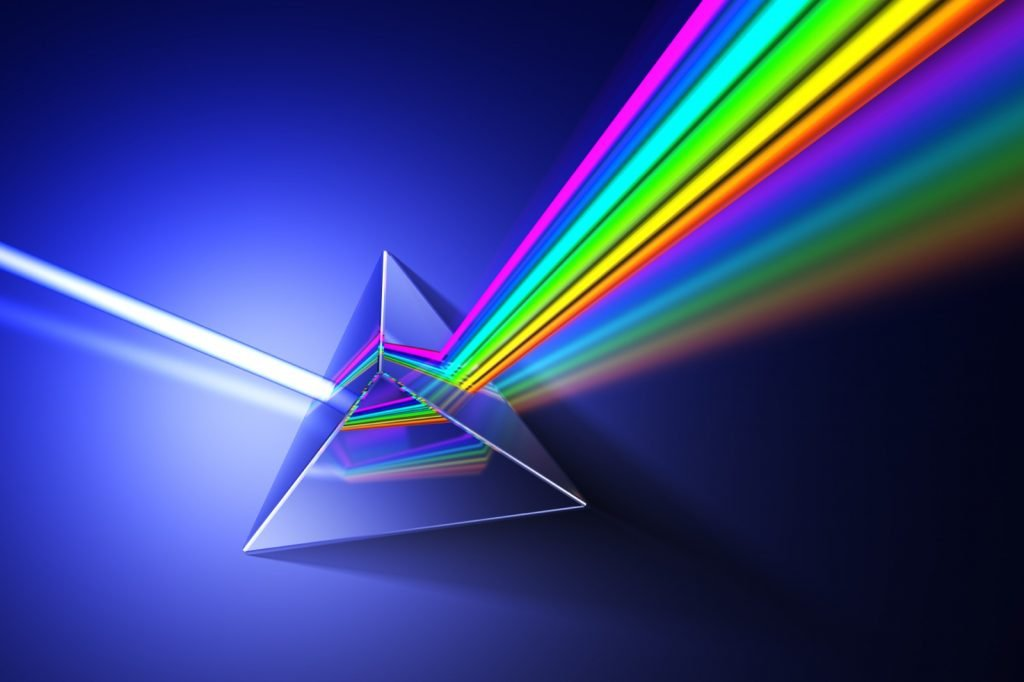 White light shines through prism producing rainbow colors