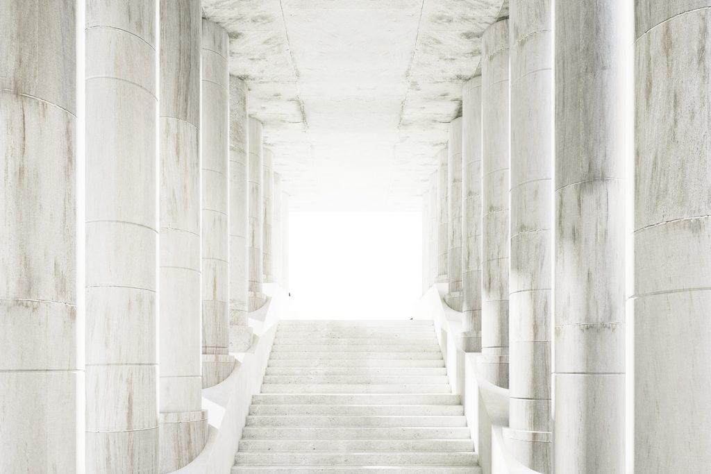 Bright white marble stairway with big pillars
