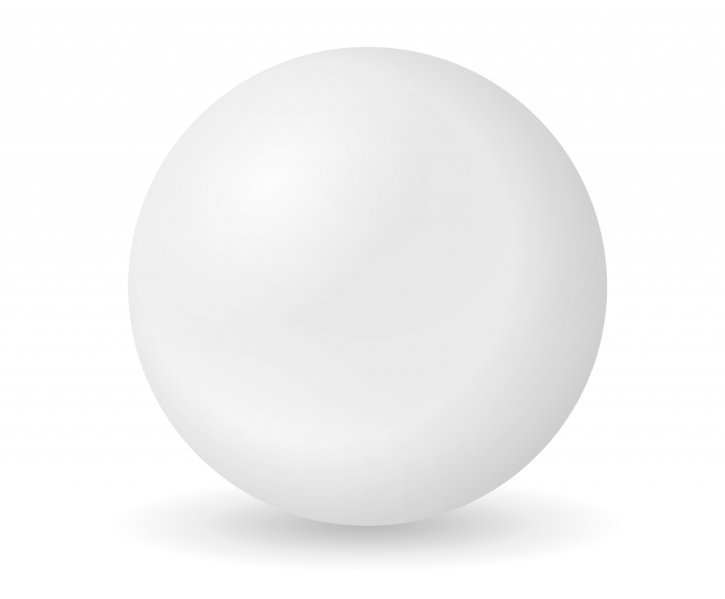 White sphere or orb on an empty background absent of color