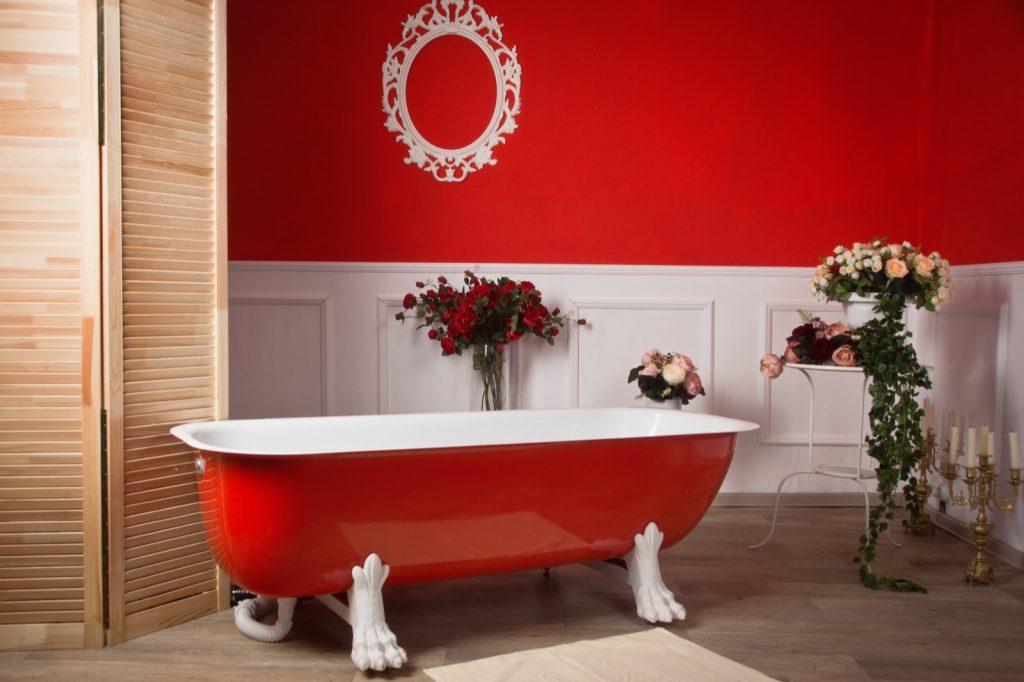 Red bathroom interior in vintage style