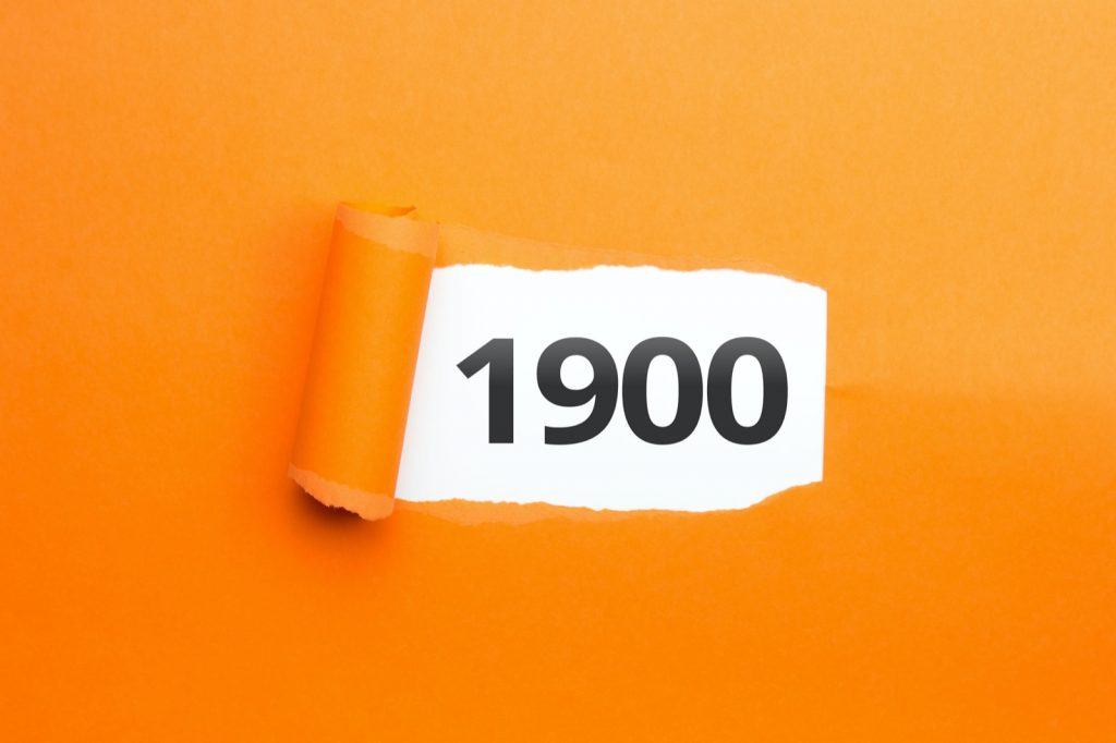 Year 1900 number on an orange background