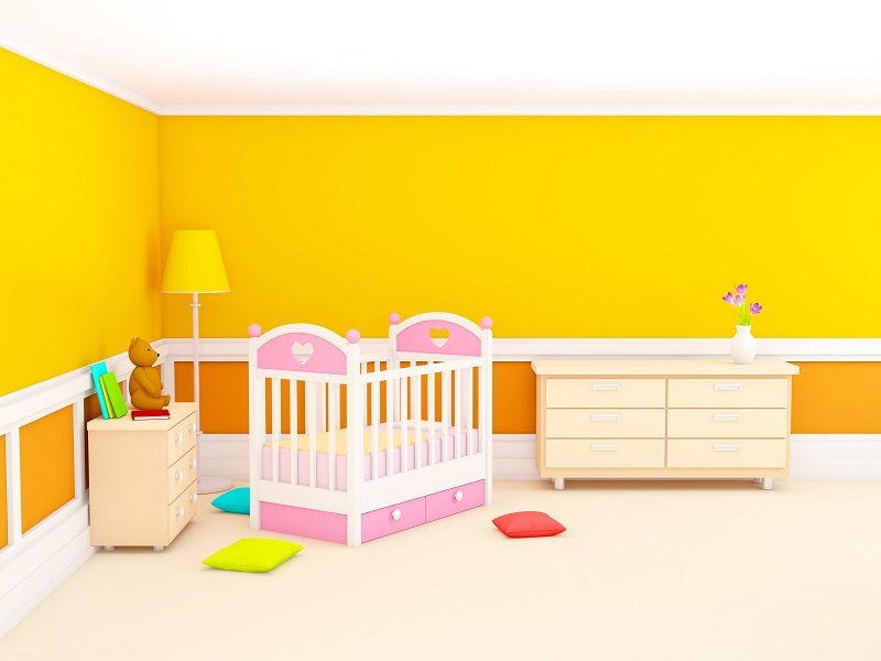 Orange baby's bedroom with crib, in classic style. 3d illustration.
