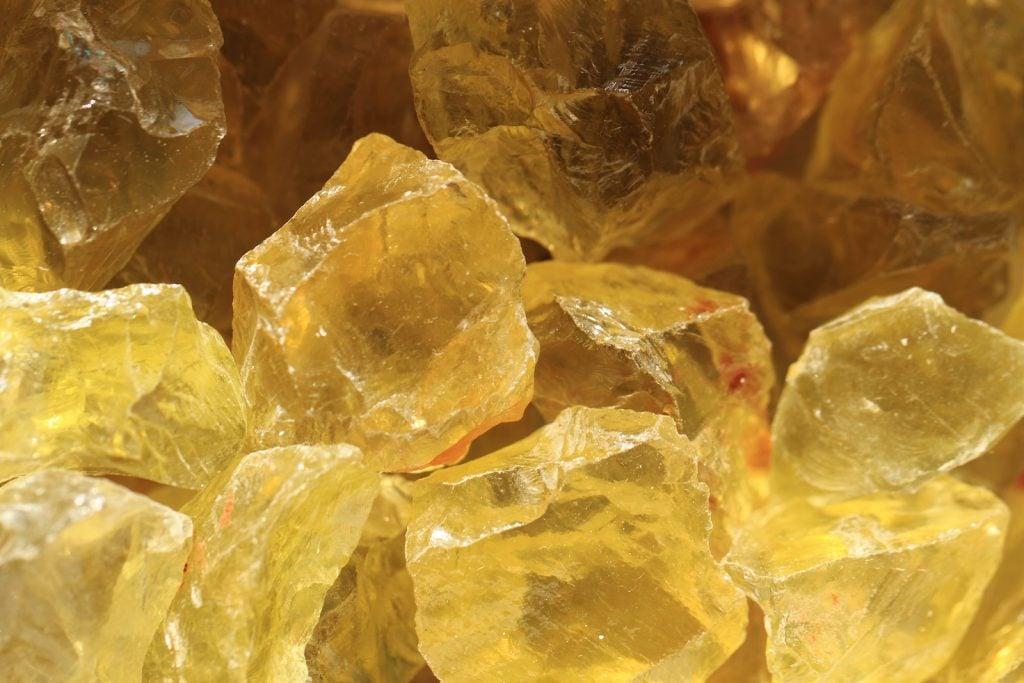 Closeup of raw yellow citrine quartz stones