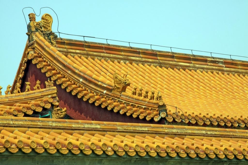 Closeup of yellow glazed tile roof in China