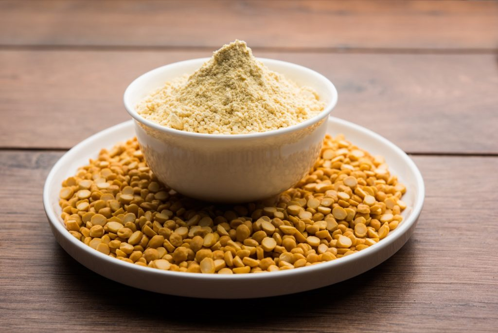Yellow gram flour made from chickpeas