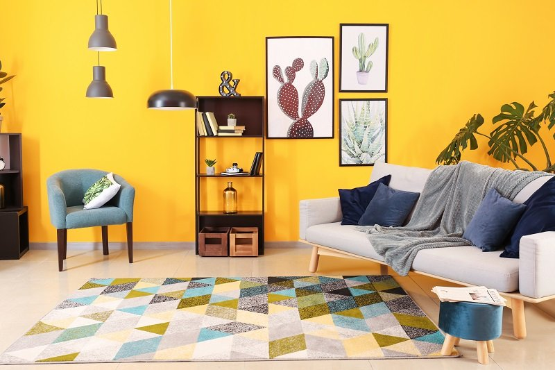 living room in yellow paint