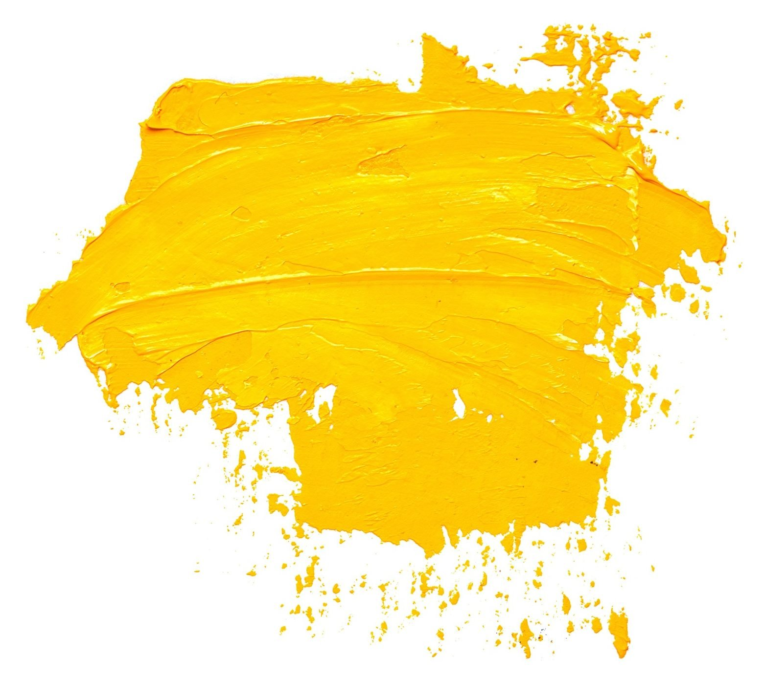 Yellow oil paint brush strokes isolated on a white background