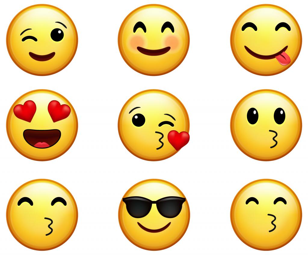 Yellow unicode emoji set with smiley faces