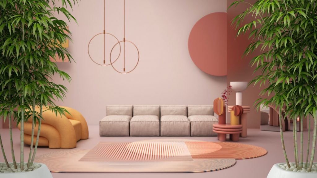 Zen interior pastel colored living room with potted bamboo plants, sofa, armchair, carpet and coffee tables