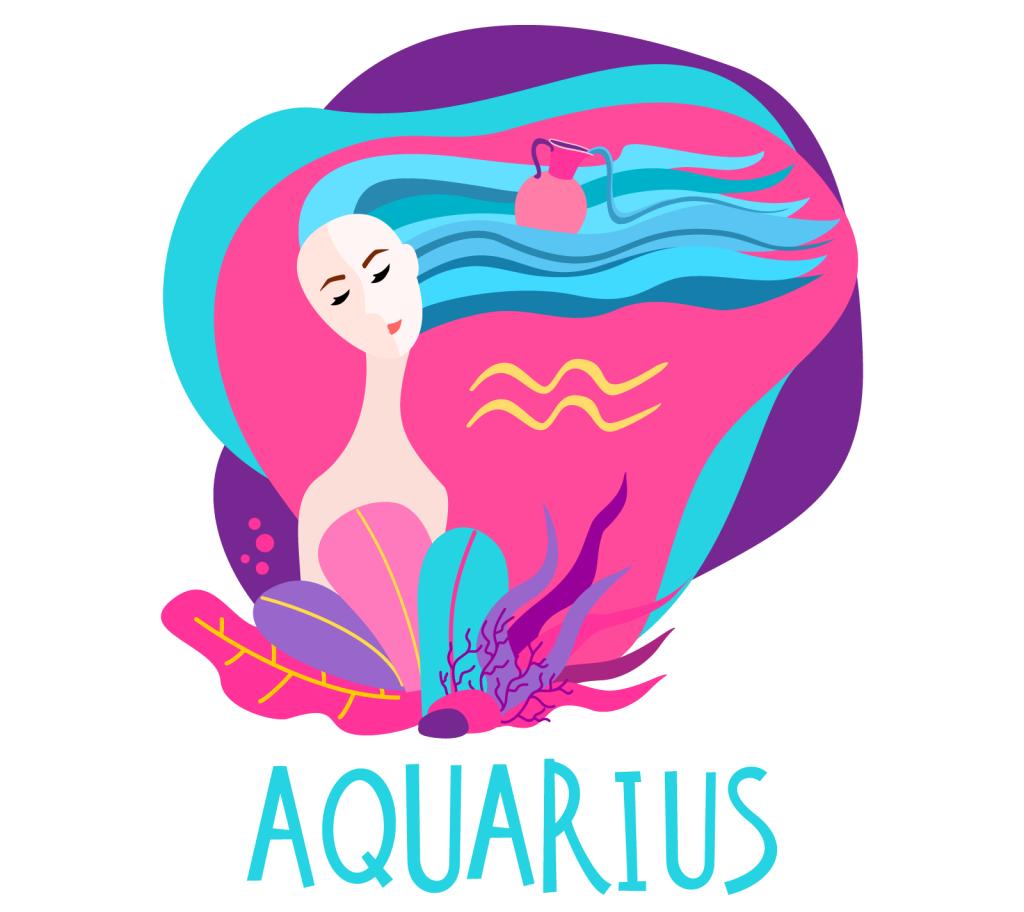 Illustration of zodiac sign Aquarius